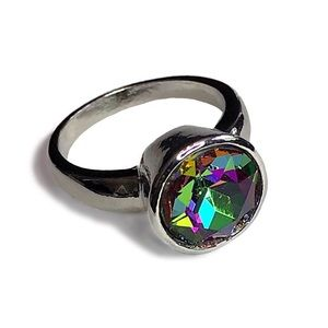 925 Silver Plated Mystic Topaz Ring